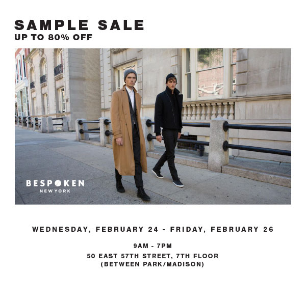 Bespoken Fall/Winter 2015 Sample Sale