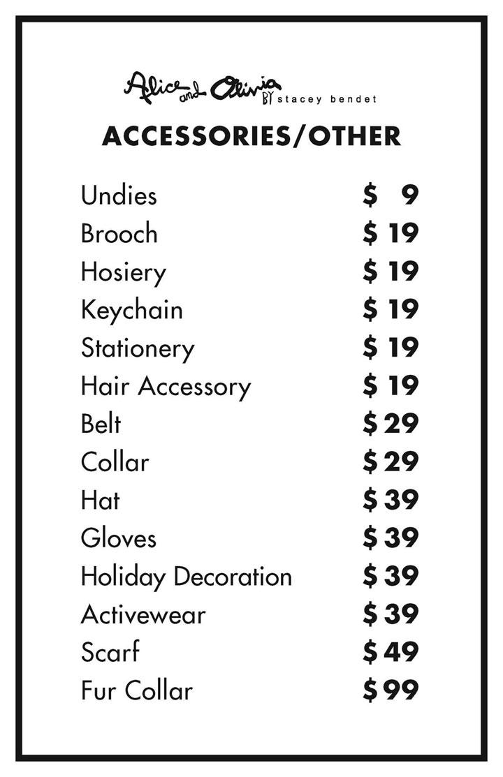 Alice + Olivia Sample Sale Accessories Price List