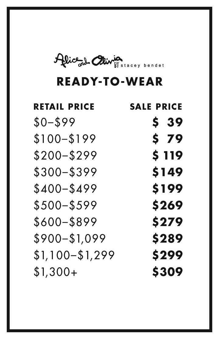 Alice + Olivia Sample Sale RTW Price List
