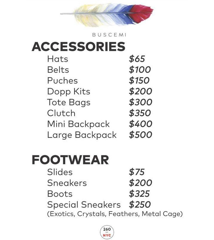 Buscemi Sample Sale Price List