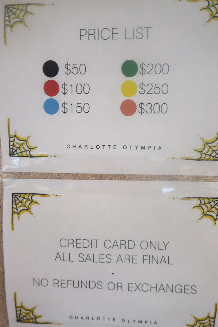 Charlotte Olympia Sample Sale Price List
