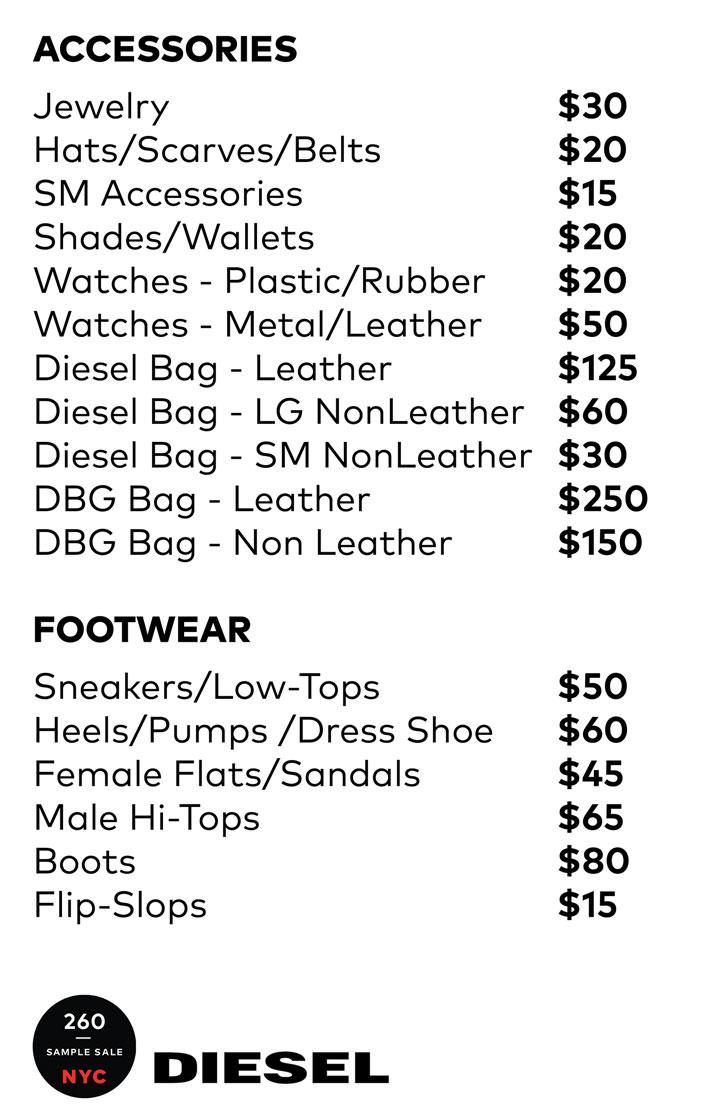 Diesel Accessories Price List