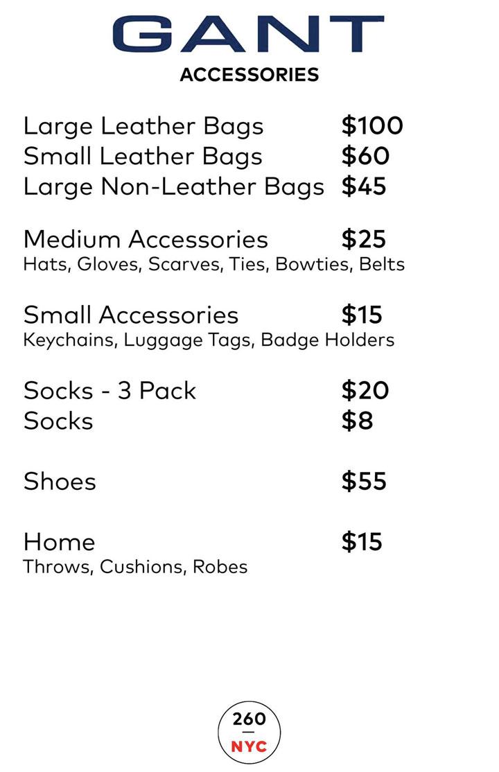 GANT Sample Sale Accessories Price List