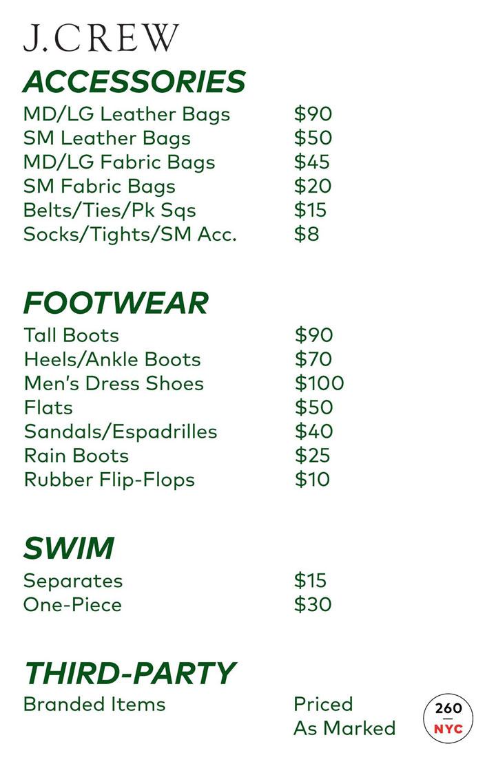J.Crew Men's Sample Sale Accessories Price List