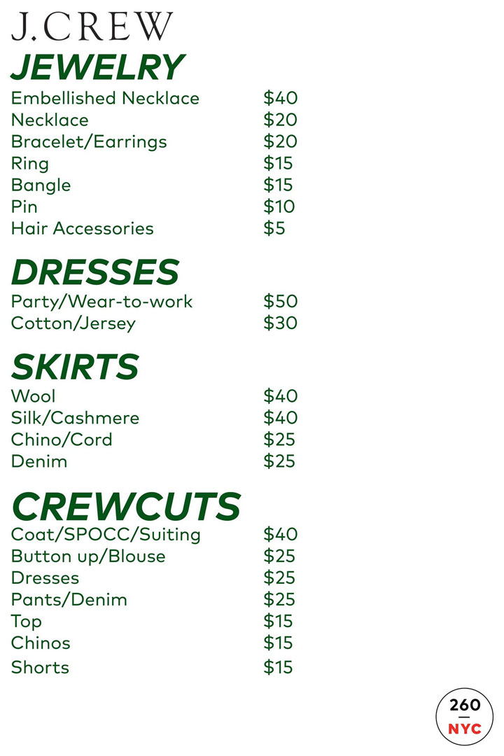 J.Crew Women's + Madewell Sample Sale Outerwear Price List