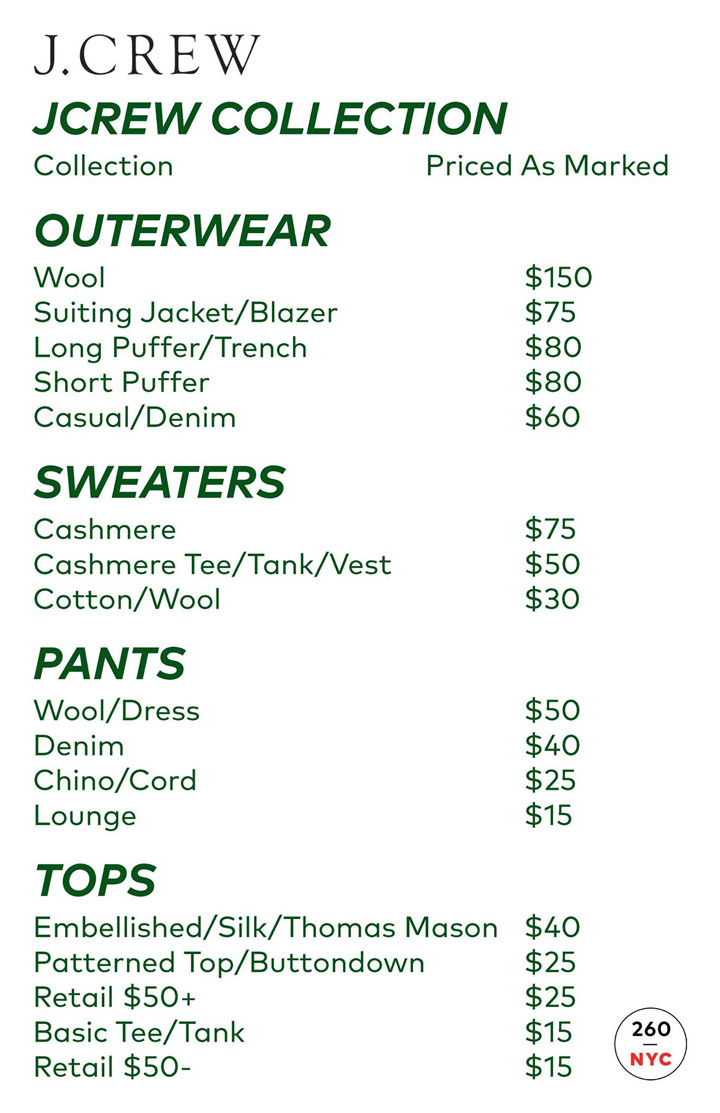 J.Crew Men's Sample Sale Outerwear Price List