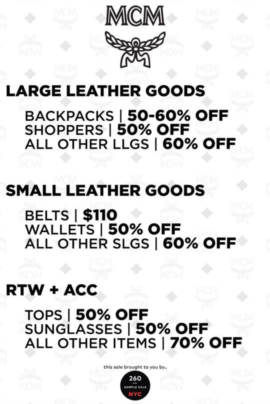 MCM Sample Sale Price List