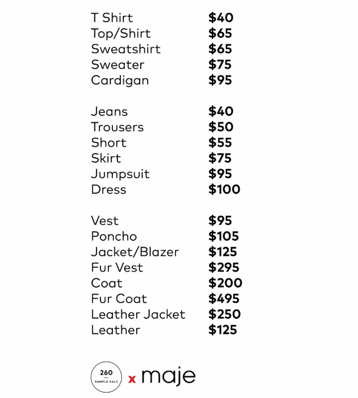 Maje Sample Sale Apparel Price List