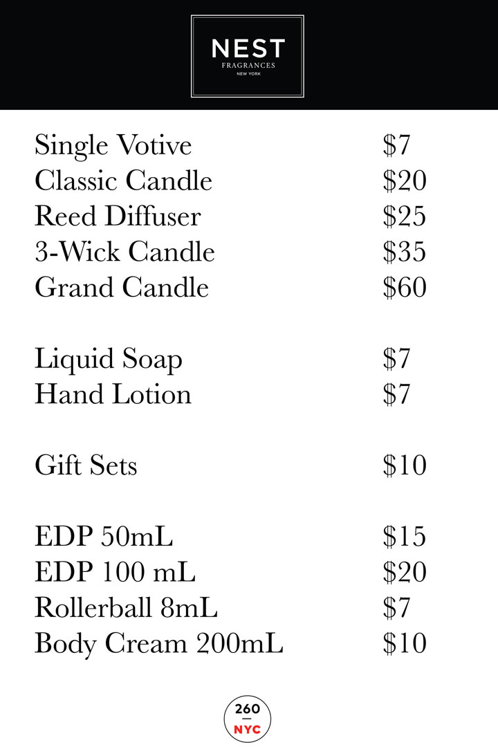 Nest Fragrances Sample Sale Price List