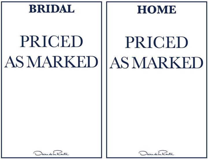 Oscar de la Renta Sample Sale Bridalwear & Home Price List