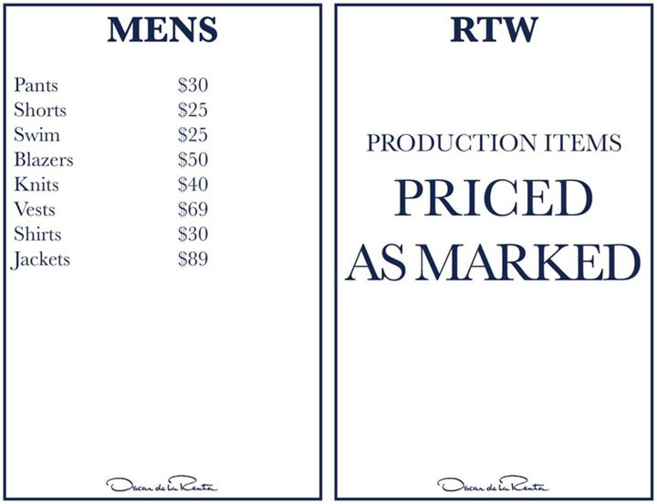 Oscar de la Renta Sample Sale Menswear & RTW Price List