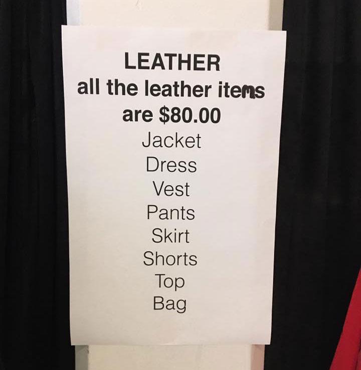 Osklen Sample Sale Leather Price List