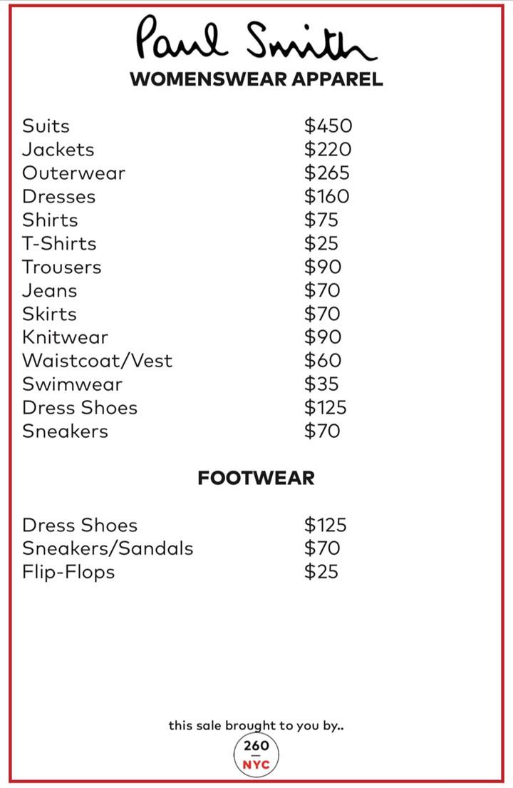 Paul-Smith Sample Sale Womenswear Price List