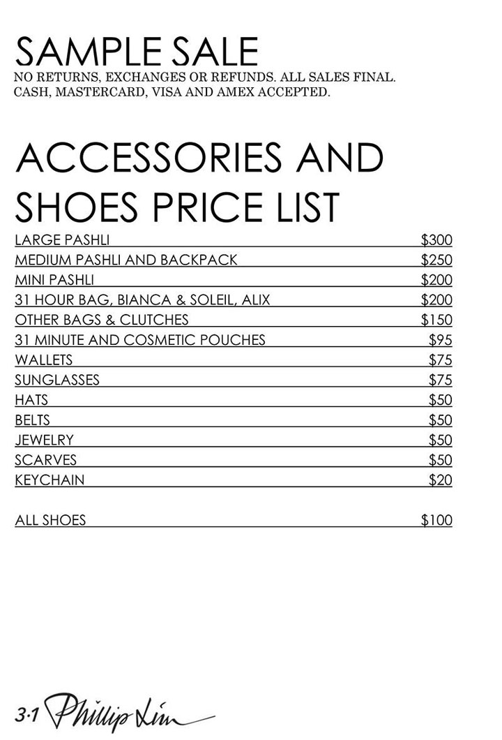 3.1 Phillip Lim Sample Sale Accessories Price List