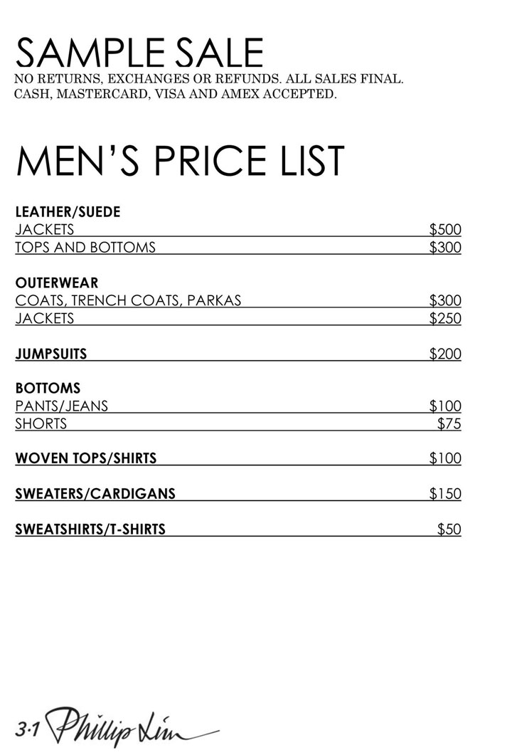 3.1 Phillip Lim Sample Sale Menswear Price List