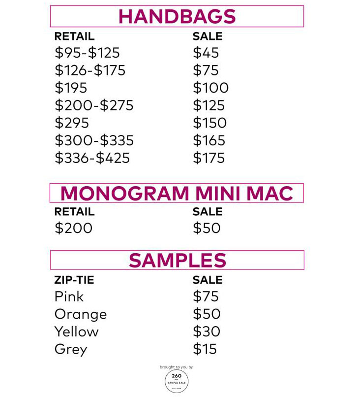 Rebecca Minkoff Sample Sale Handbags Price List