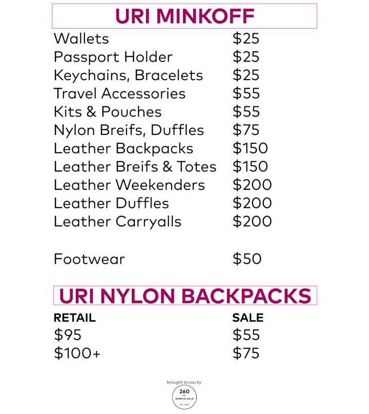 Rebecca Minkoff Sample Sale Uri Minkoff Price List