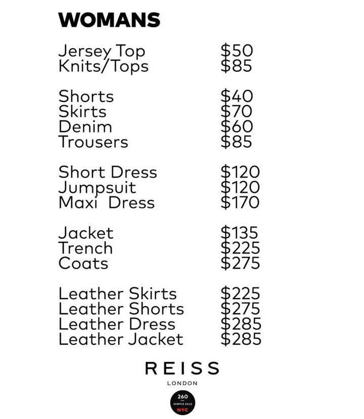 Reiss London Sample Sale Women's Apparel Price List