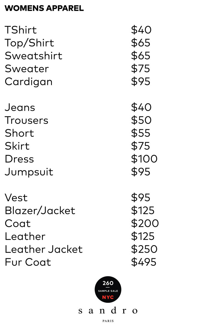 Sandro Sample Sale Women's Apparel Price List