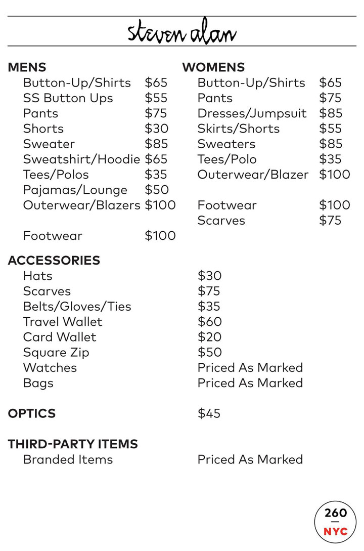 Steven Alan Sample Sale Price List