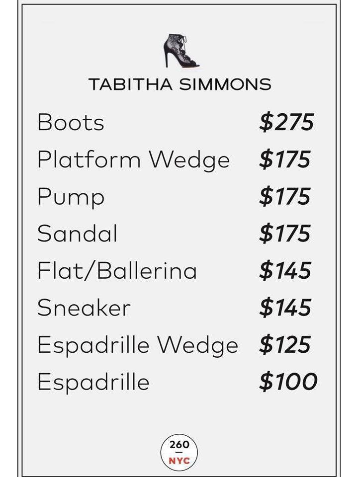 Tabitha Simmons Sample Sale Price List