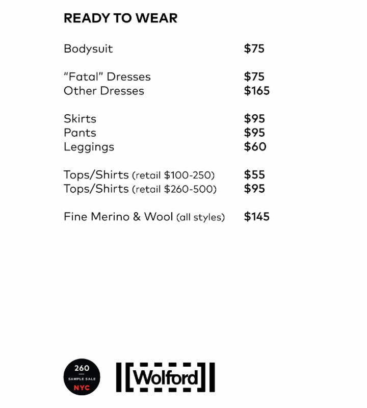 Wolford Sample Sale RTW Price List