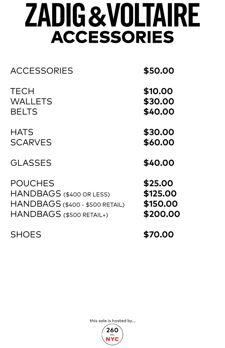 Zadig & Voltaire Sample Sale Accessories Price List