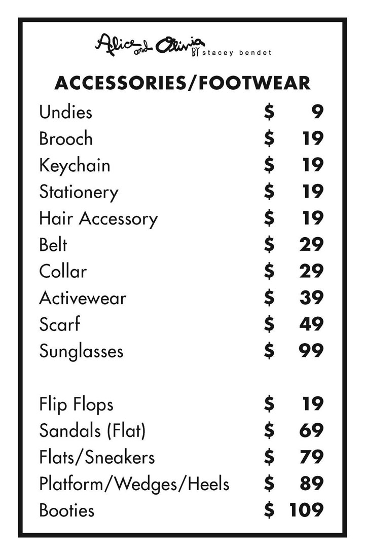 Alice + Olivia Sample Sale Accessories Price List
