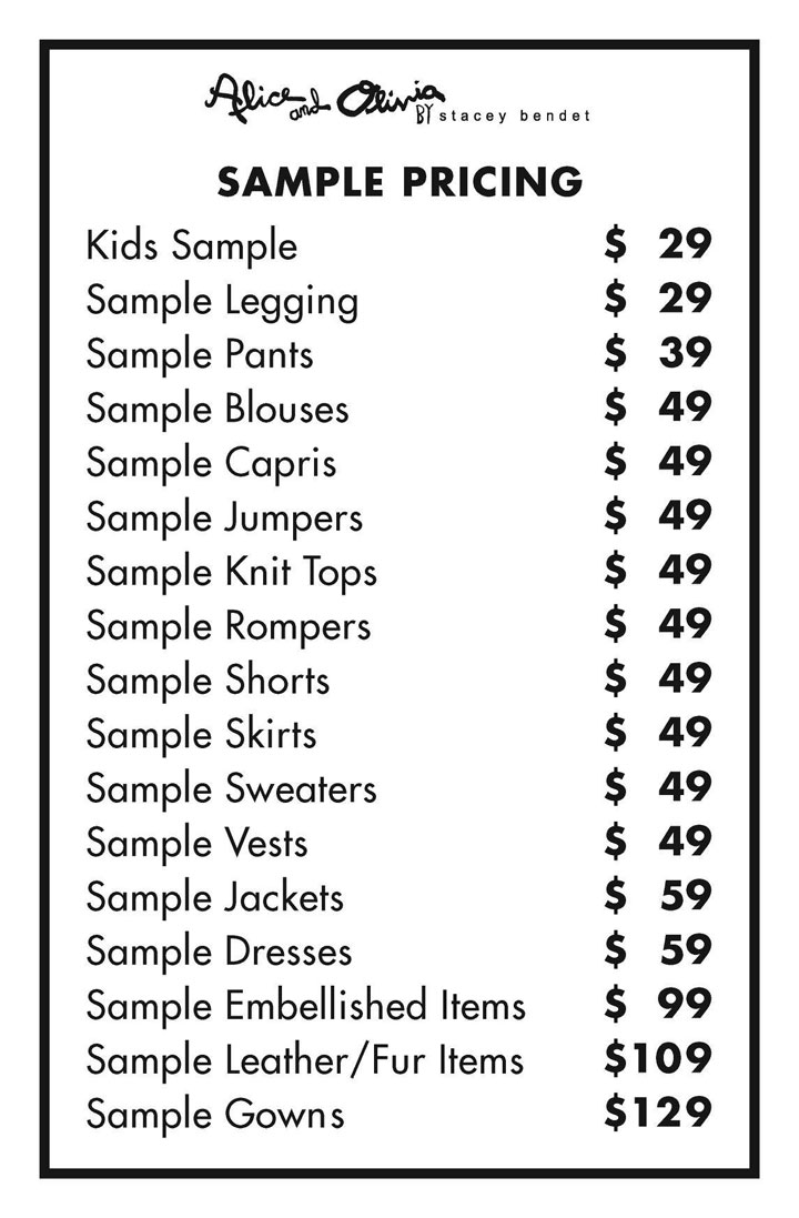 Alice + Olivia Sample Sale Samples Price List