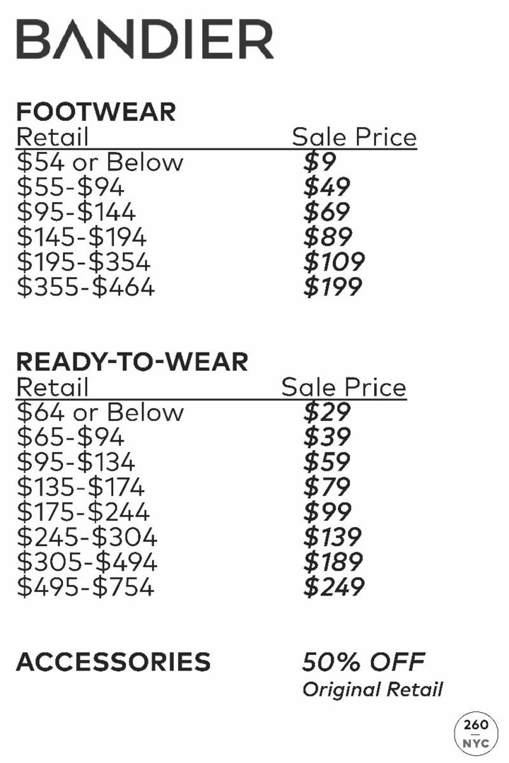 Bandier Sample Sale Price List