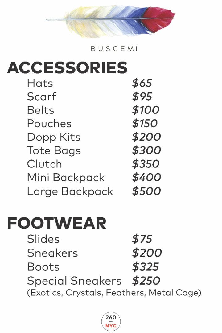 Buscemi Sample Sale Menswear Price List