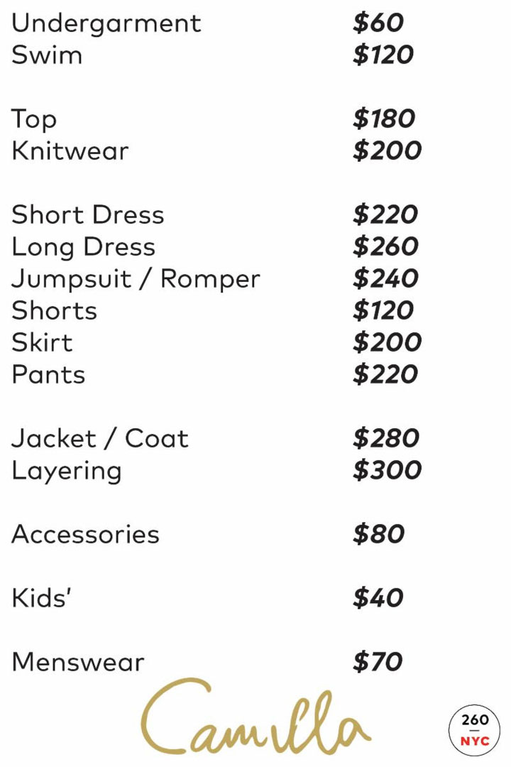 Camilla Sample Sale Price List