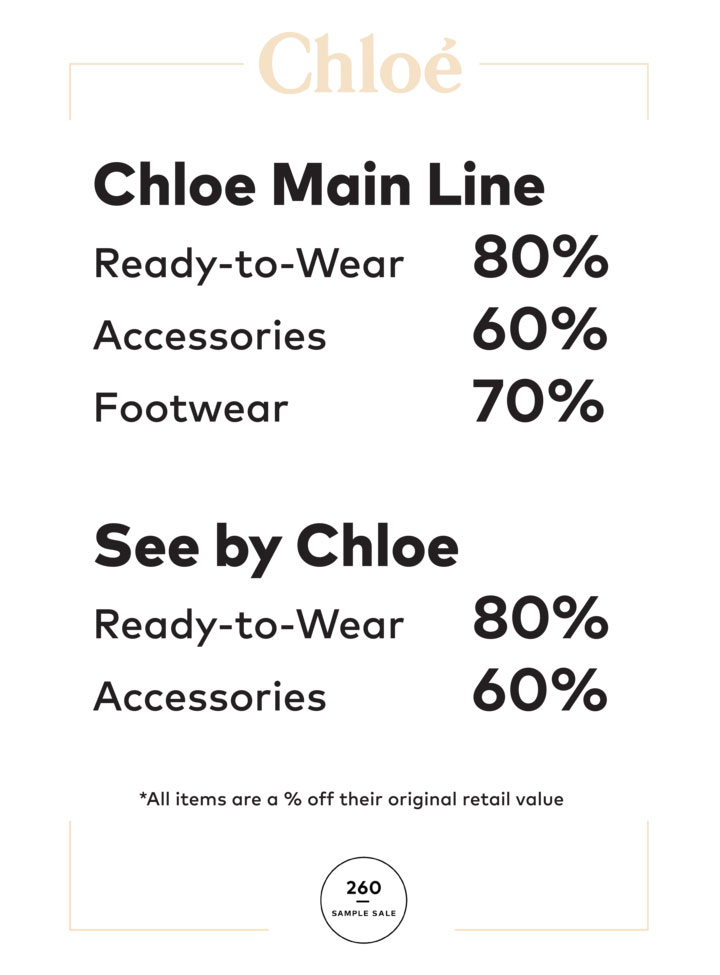 Chloe Sample Sale Price List