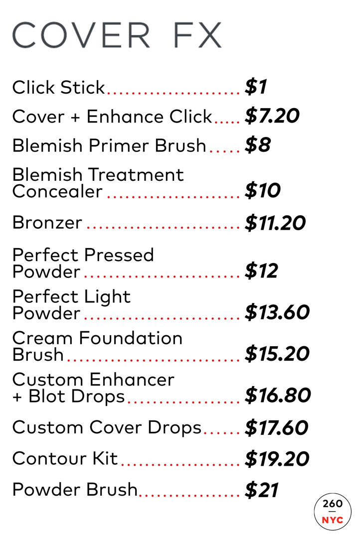 Cover FX Sample Sale Price List