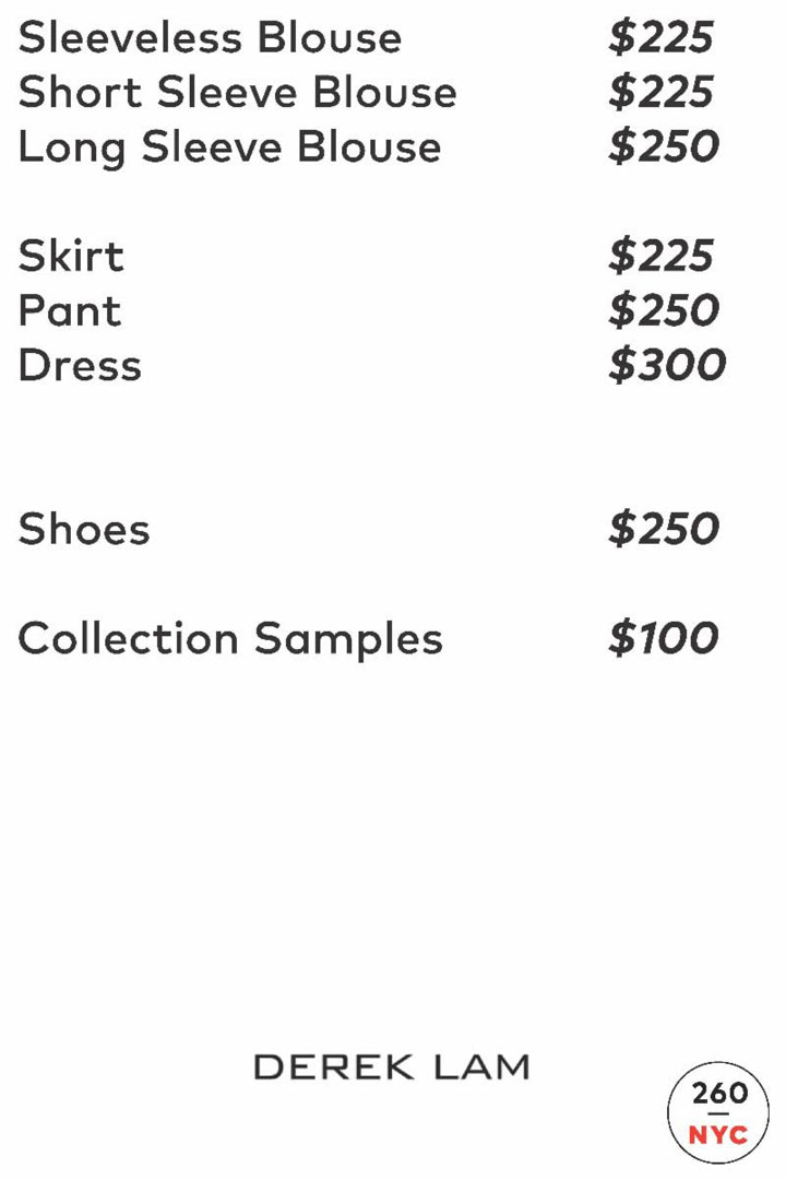 Derek Lam Sample Sale Price List