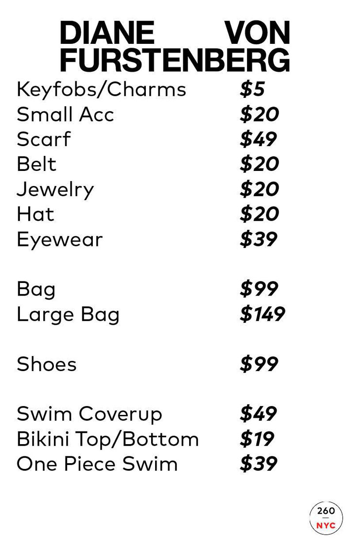 Diane von Furstenberg Sample Sale Accessories Price List