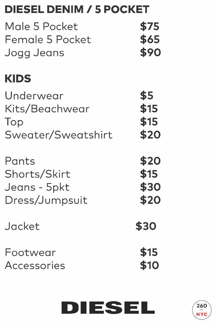Diesel Denim Price List