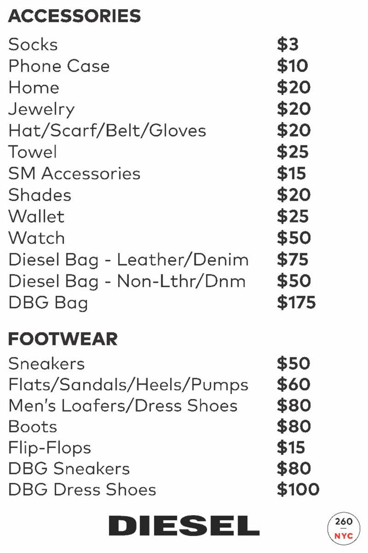 Diesel Accessories Price List