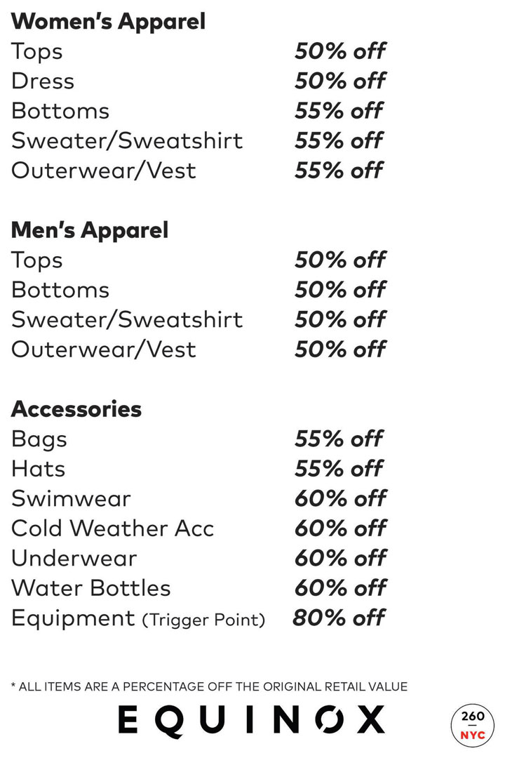 The Shop at Equinox Sample Sale Price List