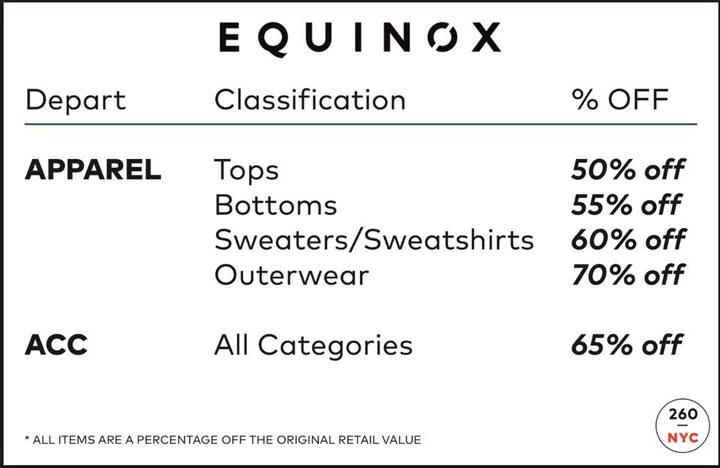 Equinox Sample Sale Price List