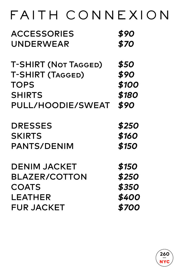 Faith Connexion Sample Sale Price List