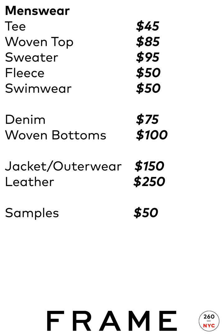 FRAME Sample Sale Menswear Price List