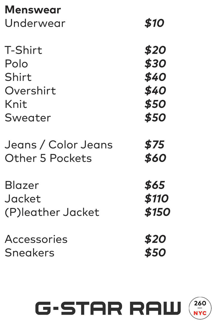 G-Star RAW Sample Sale Menswear Price List