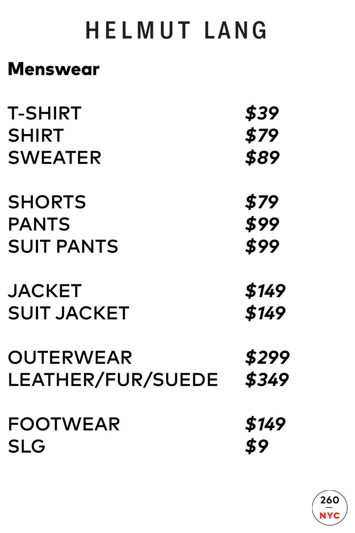 Helmut Lang Sample Sale Menswear Price List