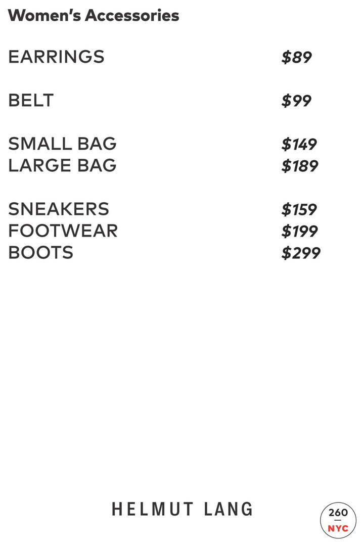 Helmut Lang Sample Sale Accessories Price List