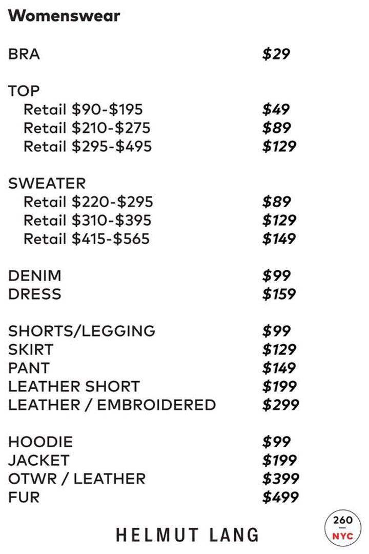 Helmut Lang Sample Sale Womenswear Price List
