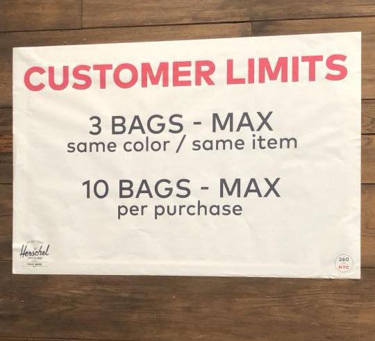 Herschel Supply Co. Sample Sale Customer Limits