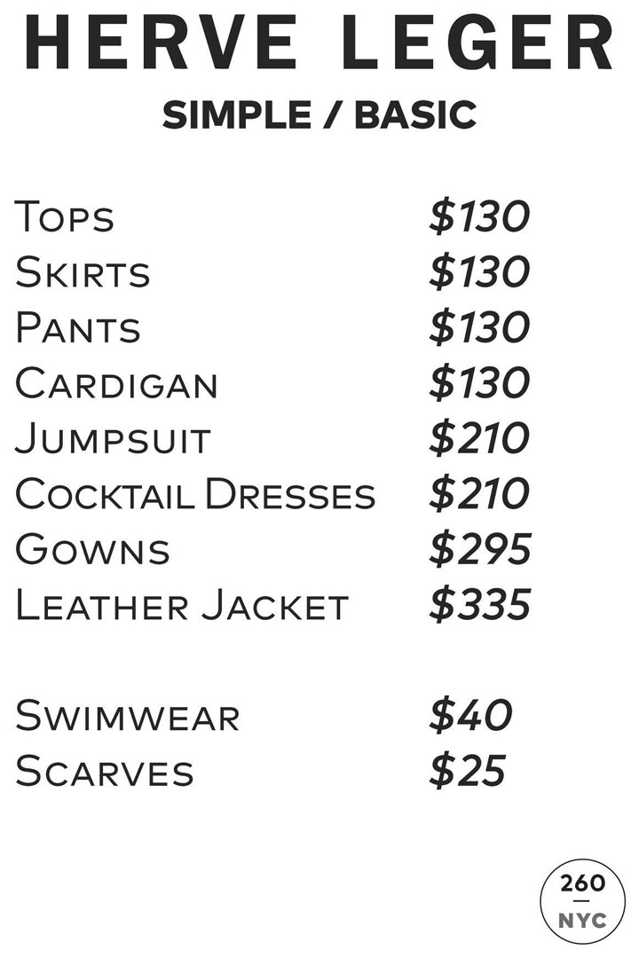 Herve Leger Sample Sale Price List