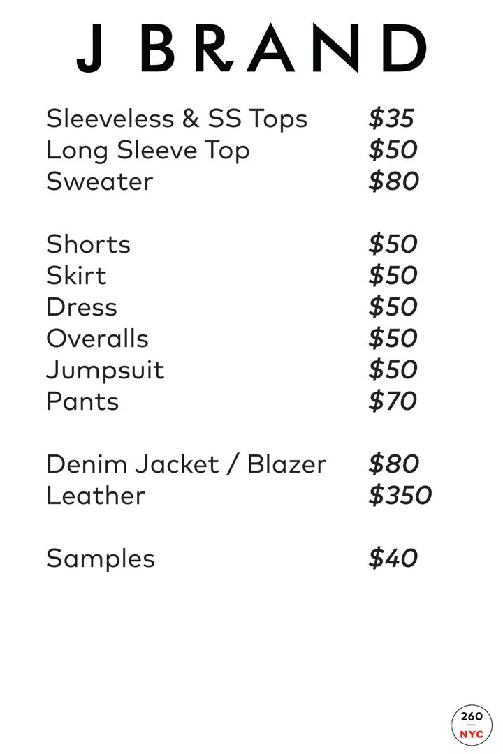 J Brand Sample Sale Price List