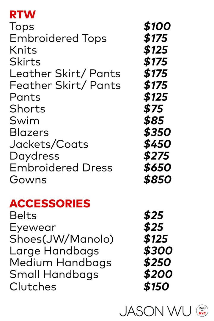 Jason Wu Sample Sale Price List